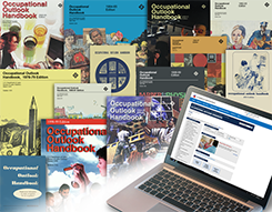 Collage of publications related to the Occupational Outlook Handbook